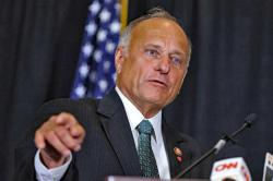 In this Aug. 23, 2019, file photo, Rep. Steve King, R-Iowa, speaks during a news conference in Des Moines, Iowa
