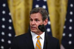 Tennessee Gov. Bill Lee speaks about protecting seniors, in the East Room of the White House, Thursday, April 30, 2020, in Washington