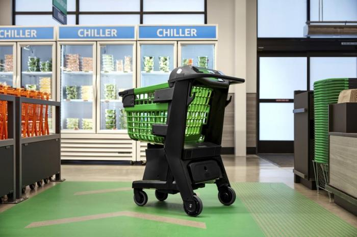 In a photo provided by Amazon, the company's smart shopping cart is seen in spring 2020 in Los Angeles