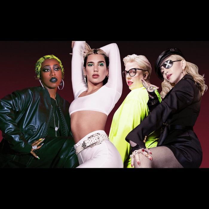 From left to right: Missy Elliott, Dua Lipa, The Blessed Madonna and Madonna