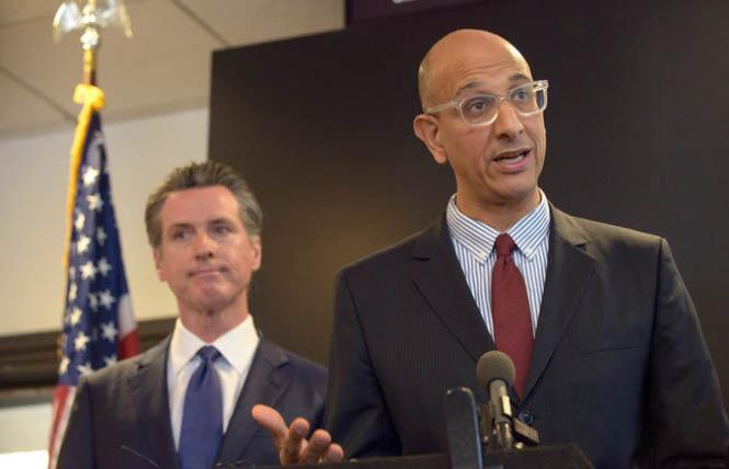 Dr. Mark Ghaly, right, shown here with Governor Gavin Newsom at an earlier press briefing, announced Tuesday that SOGI data would be collected for COVID-19
