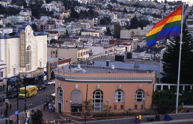 The rainbow flag flies at Castro and Market streets