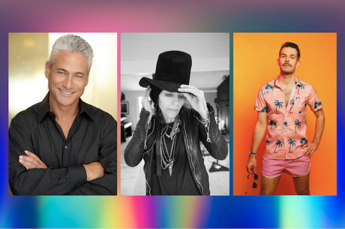 (l to r) Greg Louganis, Linda Perry, Bright Light Bright Light