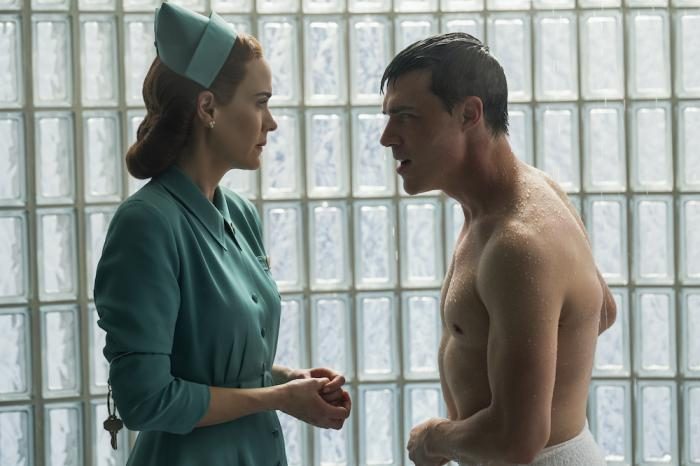"""Sarah Paulson, left, and Finn Wittrock, right, in a scene from """"Ratched."""""""