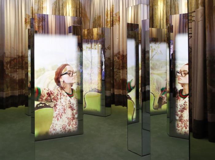 a view of a Gucci advertisement campaign selected for an exhibition to celebrate the vision of Gucci's creative director Alessandro Michele at the Gucci Garden Archetypes, in Florence, Italy.