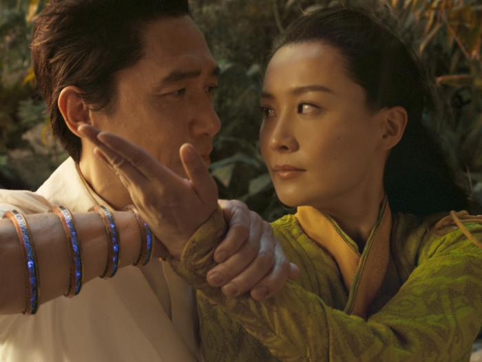 This image released by Marvel Studios shows Tony Leung, left, and Fala Chen in a scene from 'Shang-Chi and the Legend of the Ten Rings.'