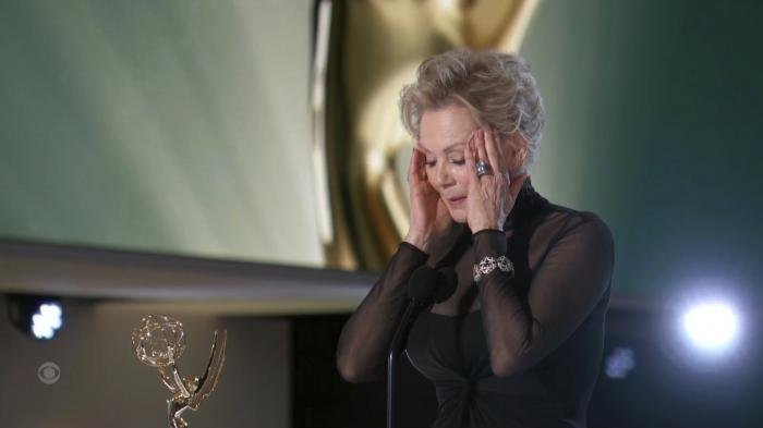 """In this video grab issued Sunday, Sept. 19, 2021, by the Television Academy, Jean Smart accepts the award for outstanding lead actress in a comedy series for """"Hacks"""" during the Primetime Emmy Awards. (Television Academy via AP)"""